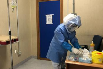 A nurse at the Villa Betania Evangelical Hospital wearing full protective gear to fight the spread of the COVID-19 virus. Photo: Brandmaker