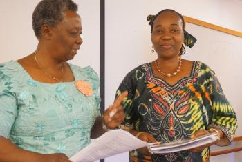 Dr Helen Kijo-Bisimba, of Tanzania (left), and Rev. Solange Yumba wa Nkulu, DRC, at the women's rights advocacy training in Geneva. Photo: LWF/P. Mumia