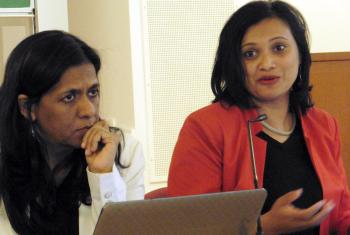 Dr Fatima Seedat (left) and Prof. Sarojini Nadar at the conference which explained how patriarchy and its implications for violence against women has become part of teaching scriptural hermeneutics together in a Christian-Muslim classroom at the University of KwaZulu-Natal, South Africa. Photo: LWF/S. Sinn