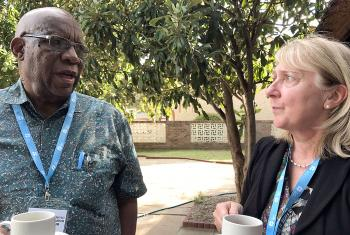 Bishop emeritus Ambrose Moyo, Zimbabwe and  Dr Martina Fischer, Bread for the World, Germany. Photo: LWF/I. Benesch