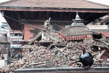 Earthquake destruction in Durbar Square in Bhaktapur, Nepal. Photo: LWF/C. Kästner