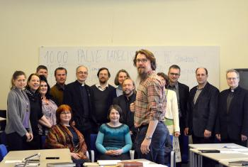 Rev. Prof. Thomas-Andreas Põder, head of Systematic Theology at the Institute of Theology, Estonian Evangelical Lutheran Church, leads students, pastors and other church workers in one of the courses on the LWF-produced Reformation booklets. Photo: EELC