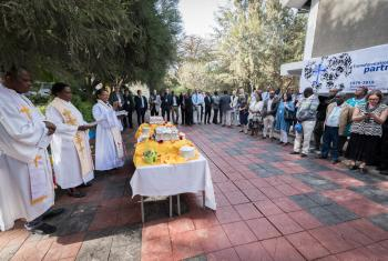 Rev. Tseganesh Ayele of the Ethiopian Evangelical Church Mekane Yesus welcomes participants to the CMCR. All photos: LWF/Albin Hillert