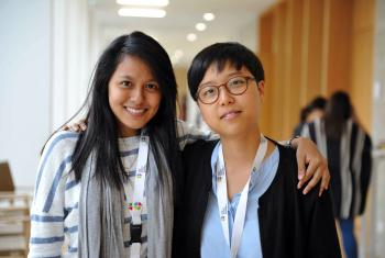 LWF Vice-President for Asia Eun-hae Kwon, right, with Sumita Chin, from Malaysia. Kwon says the ongoing witness of Lutherans motivates her to serve. Photo: LWF/M. Renaux