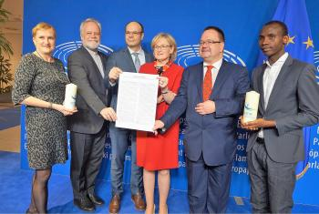 The CCME and CEC representatives presented the Christmas statement to First Vice-President of the European Parliament Mairead McGuinness in Brussels. Photo: CEC/Naveen Qayyum