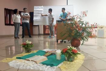 Participants discuss diaconal strategies during the workshop in Managua, Nicaragua. Photo: Grosvyn Ariel Rodriguez