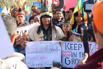 Indigenous communities take part in a climate march during COP22 conference in Marrakech. Photo: Photo: Ivars Kupcis/WCC