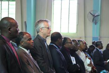 LWF General Secretary Rev. Martin Junge worships among several Lutheran leaders and ecumenical partners from around the world. Photo: Allison Westerhoff