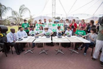 Fasting action at COP20. Photo: LWF/Sean Hawkey