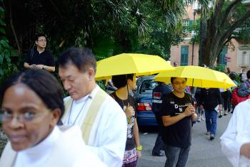 Protesters outside St John's cathedral, Hong Kong. Photo: Neil Vigers/Anglican Communion Office