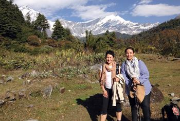 Sisters Kate and Josephine Neldner in in front of the Dhaulagiri range. Photo: K. Neldner