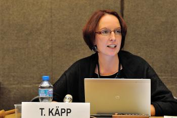 Rev. Triin Käpp moderating a panel discussion on violence against women at the UN in Geneva. Photo: NGO CSW Geneva