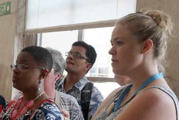 Marta Spangler, right, with workshop participants during a visit to the UN Geneva office. Photo: LWF/E. Neuenfeldt