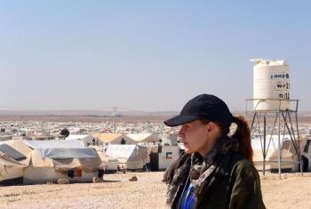 Jenny Moe visiting Zaatari refugee camp in Jordan, close to the border to Syria. Photo: Jenny Moe