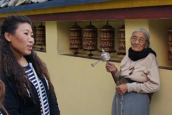 Kandho (center) and Sonam (left) in the Tishaling Tibetan Settlement, Pokhara. Photo: LWF/ C. Kästner