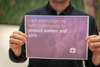 "LWF staff support for the ""16 Days of Activism Against Gender-Based Violence"" campaign. Photo: LWF/S. Gallay"