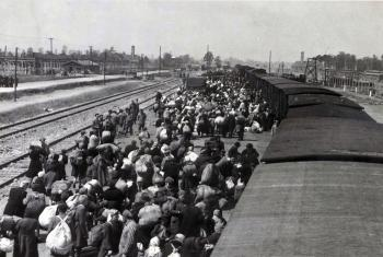 Deported Jews arrive at the concentration camp of Auschwitz / Birkenau / 1944. Credit: Fortepan / Lili Jacob