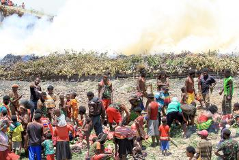 Burning the stone, originally a traditional Papuan way of cooking and also a thanksgiving ceremony, sometimes also the scene for harmful traditional practices. Photo: John Roy Purba/HKBP