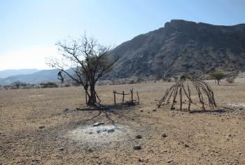 A cattle post in Kunene region of Namibia, abandoned due to lack of grazing pasture for livestock. Photo: LWF