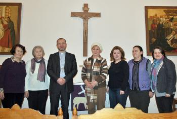 Bishop Maschewski with congregation in Simferopol, Ukraine