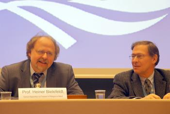 UN Special Rapporteur on Freedom of Religion or Belief Prof. Heiner Bielefeldt (left) and Mr Ralston Deffenbaugh, LWF Assistant General Secretary for International Affairs and Human Rights. Photo: LWF/P. Mumia