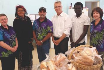 General Secretary Junge with Lutheran Community Care workers in Alice Springs, Australia. LCC staff explained how the organisation serves and meets needs of people who are doing it tough through its emergency relief program.