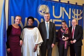 (left to right) Caroline Richter, Dr Phumzile Mlambo-Ngcuka, Rev. Martin Junge, Lopa Banerjee and Dennis Frado. Photo: Christine Mangale