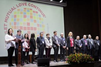 "24 April 2018, Bogotá, Colombia: Welcome by local Colombian churches on opening day. The Global Christian Forum gathers in Bogotá on 24-27 April 2018 under the theme of ""Let mutual love continue"". Photo: Albin Hillert/WCC"