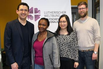 Beneficiaries of the GNC/LWF scholarship program: (from left) Daniel Jara (Ecuador), Elizabeth Silayo (Tanzania), Michelle Wong (Malaysia) and Sebastian Dallmann (Germany). Photo: LWF/A. Weyermüller
