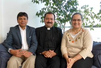 Guatemalan Lutheran church leader Rev. José Pilar Álvarez Cabrera (middle), Mr Omar Jéronimo (left) and Ms Claudia Samayoa Pineda, during the visit to Geneva. Photo: LWF/M. Haas