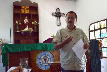 President Rev. José Pilar Cabrera of the LWF member church ILUGUA, which also belongs to the Communion of Lutheran Churches in Guatemala. Photo: ILUGUA
