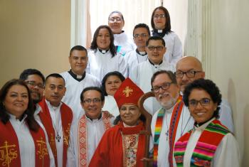 Candidates for ordination and clergy from sister churches and partner organizations of  the Christian Lutheran Church of Honduras during the 29th General Assembly, held in Tegucigalpa. Photo: Vera Morales