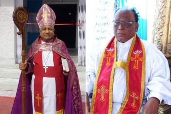 Bishop Emmanuel Panchoo, ELCMP (left), and Rev. Kunja Daniel (GSELC). Photos: UELCI