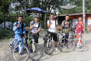 Seminary students from Pematang Siantar with their bicycles - the project mobilized 50 students in a country where bicycles are expensive and considered an unusual means of transportation. Photo: Daniel Sinaga