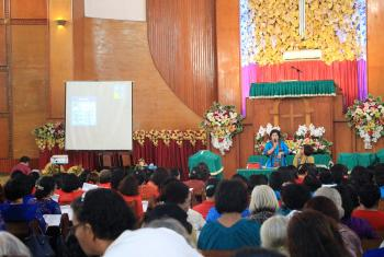 Several hundred women from the Christian Protestant Church in Indonesia (GKPI) gathered at a church in Medan City, North Sumatra, on 19 August 2019 to hear about ways of implementing the Lutheran World Federation's (LWF) Gender Justice Policy in their own local context. Photo: GKPI