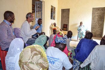 Rev. Dr Sivin Kit and World Service Emergency Program Coordinator Clovis Mwambutsa in dialogue with the Muslim Chief of a community in Cameroon hosting refugees from neighbouring countries. Photo: LWF/Moise Amedje