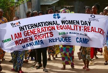 Women in Kenya's Kakuma refugee camp, where LWF is the main implementing partner for UNHCR, celebrate International Women's Day 2020. Photo: LWF Kenya/Akbar