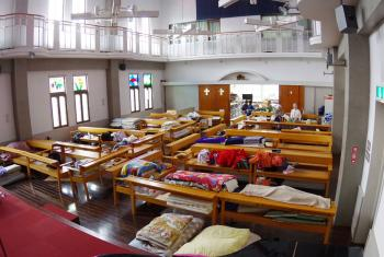 A church becomes a makeshift shelter for survivors of the earthquake. Photo: JELC