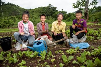 In Laos, thanks to a joint project by LWF and Brot für die Welt, villagers use natural compost techniques to do their vegetable gardening. Photo: Thomas Lohnes