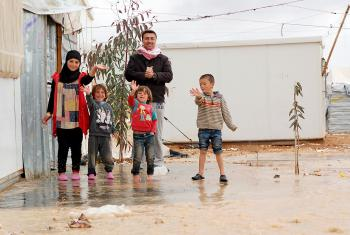 Residents of Za'atari refugee camp, seen here after a snow storm in 2014, play in the remaining patches of snow. Canadian Lutherans hope to bring a Syrian family to Canada. LWF Jordan/J. Pfattner