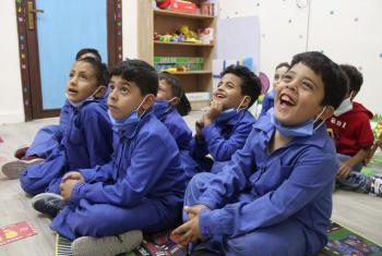 Students enjoy the multi-purpose-room at Othman Bin Affan Primary School for Boys in Zarqa. Photos: LWF/ A. Alsamra