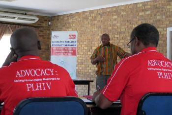 Churches in Africa recognize the urgent need to address the human rights issues associated with the HIV pandemic in Africa. LUCSA executive director Rev. Dr David Tswaedi leads a session of the December workshop in Johannesburg. Photo: LUCSA/Allison Westerhoff