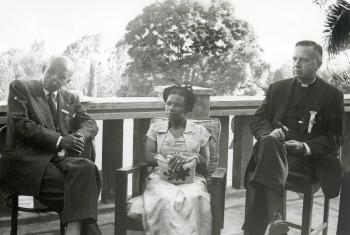 Speakers at the 1955 conference in Marangu included (from left) Dr Emmanuel Abraham (Ethiopia), E. M. Marealle (Tanzania), and LWF Executive Committee President Dr Franklin Clark Fry (USA). Photo: LWF Archives