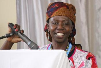 Global Fund for Women president, Dr Musimbi Kanyoro, addresses Lutheran church delegates at the May 2015 African region consultation and 60th anniversary gathering in Moshi, Tanzania. Photo: LWF/Tsion Alemayehu
