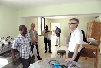 Rev. Martin Junge visiting one of LWF/DWS Haiti projects. Photo: LWF/DWS Haiti