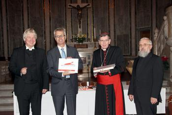 "(Left to right) Bishop Dr Karl-Hinrich Manzke, LWF General Secretary Rev. Martin Junge, Kurt Cardinal Koch and Bishop Dr Gerhard Feige at the presentation of the results of the internet project ""2017 – Together on the Way"" in Rome. Photo: LWF-GNC/F. Hübner"