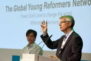 LWF General Secretary Rev. Dr Martin Junge tells young reformers at Wittenberg to live out God's call for mission and service in the world. Photo: LWF/Marko Schoeneberg