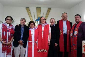 From left to right: Ordained pastors of the Mexican Lutheran Church; Karina Carmona, José Alcantara, Sofía Tenorio, Ángela Trejo, David Brondos, Roberto Trejo and Moisés Espino following the worship service celebrating 10 years of women's ordination. Photo: L. Tenorio/ILM
