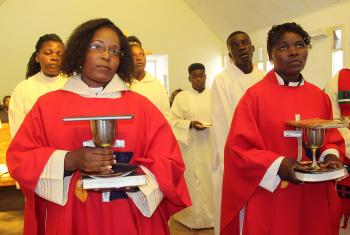 "Rev. Zelda Cristina Cossa (left) and Rev. Rosa Minoria Rafael, the second group of women to be ordained in the Evangelical Lutheran Church in Mozambique, ready to ""share the Word, baptize and administer the sacraments to God's people."" Photo: Salvador Hilário Chame"