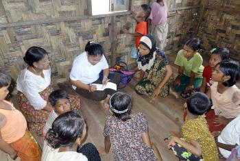 LWF focus group discussion with 11-17 year-olds in a Sittwe IDP camp, Rakhine State. Photo: LWF/Myanmar